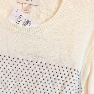 LOFT Round Neck Pullover Sweater Size L Ivory Grey